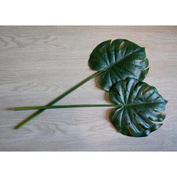 (2) West Elm faux green monstera plant leaf stems